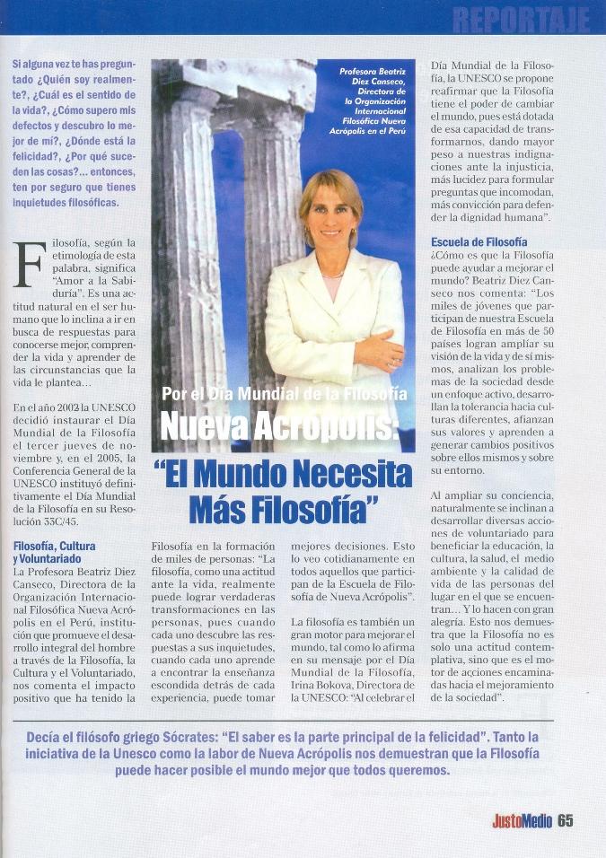 Entrevista En La Revista Justo Medio A La Directora De Nueva Acropolis Peru Con Motivo Del Dia Mundial De La Filosofia Peru Noticias De Nueva Acropolis