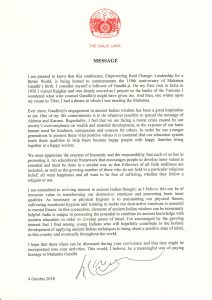 A new letter of support from His Holiness The Dalai Lama to commemorate Mahatma Gandhi's 150th Birth Anniversary (Mumbai, India)