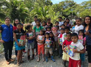 Delivery of school supplies in an indigenous area (Limón, Costa Rica)