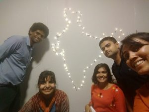 Map of India created by Volunteers with lights
